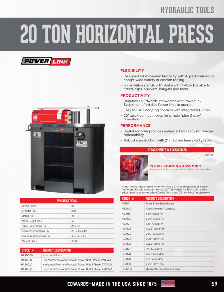 Ironworkers Canada - Edwards 20 Ton Horizontal Press